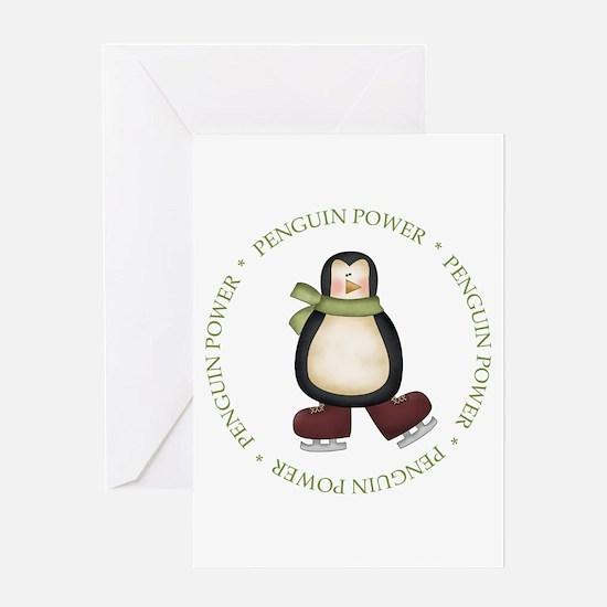 Unique Penguin power Greeting Card