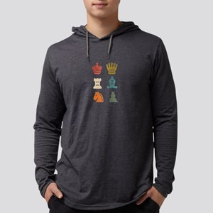 Colorful Retro Chess Pieces Ch Long Sleeve T-Shirt