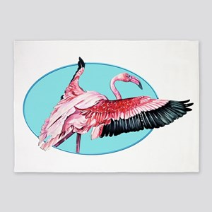 Pink Flamingo with Outstretched Win 5'x7'Area Rug