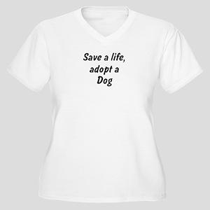Adopt Dog Women's Plus Size V-Neck T-Shirt