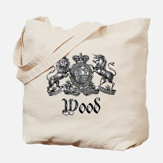 Wood Vintage Crest Family Name Tote Bag