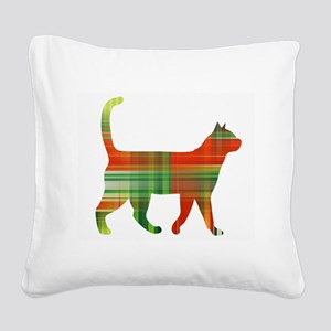 Plaid Green And Red Cat Square Canvas Pillow