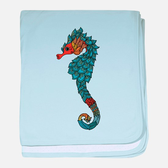 colorful Seahorse baby blanket