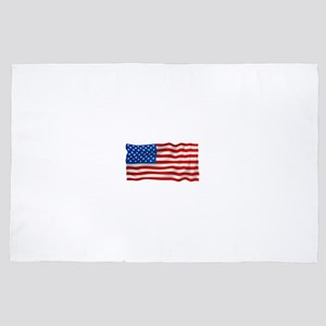 The Wind Ripples an USA Flag in the Br 4' x 6' Rug