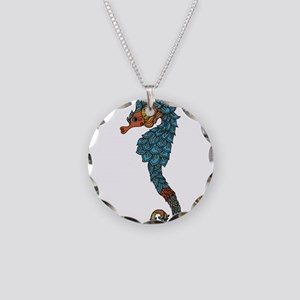 colorful Seahorse Necklace Circle Charm