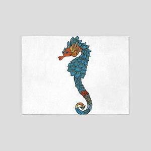 colorful Seahorse 5'x7'Area Rug