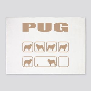 Stubborn Pug Tricks design 5'x7'Area Rug