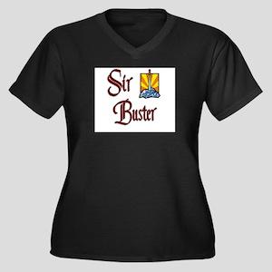 Sir Buster Women's Plus Size V-Neck Dark T-Shirt