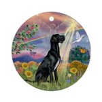 Cloud Angel & Black Great Dane Ornament (Round)
