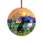 Fantasy Land/Great Dane (blk-Nat) Ornament (Round)