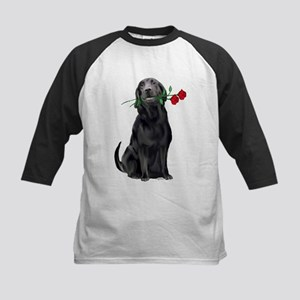 black lab with roses Kids Baseball Jersey
