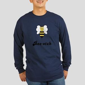 Smiling Bumble Bee Bee-otch Long Sleeve Dark T-Shi