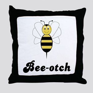Smiling Bumble Bee Bee-otch Throw Pillow