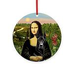 Mona Lisa and Black Great Dane Ornament (Round)