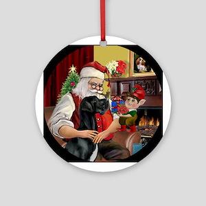 Santa & His Black Great Dane Ornament (Round)