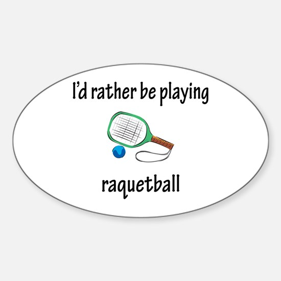 Playing Raquetball Oval Decal