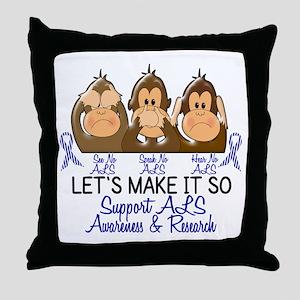 See Speak Hear No ALS 2 Throw Pillow