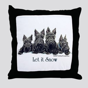 Scottish Terrier Winter Throw Pillow