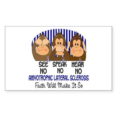 See Speak Hear No ALS 1 Rectangle Sticker