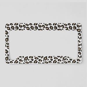 Tan Black White Leopard Patte License Plate Holder