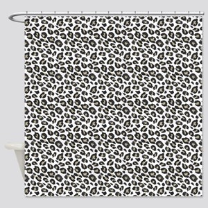 Tan Black White Leopard Pattern Shower Curtain