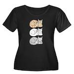 3 ASL Kitties Women's Plus Size Scoop Neck Dark T-