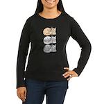 3 ASL Kitties Women's Long Sleeve Dark T-Shirt