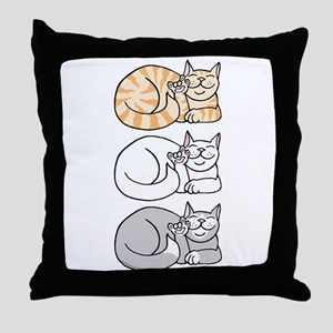 3 ASL Kitties Throw Pillow