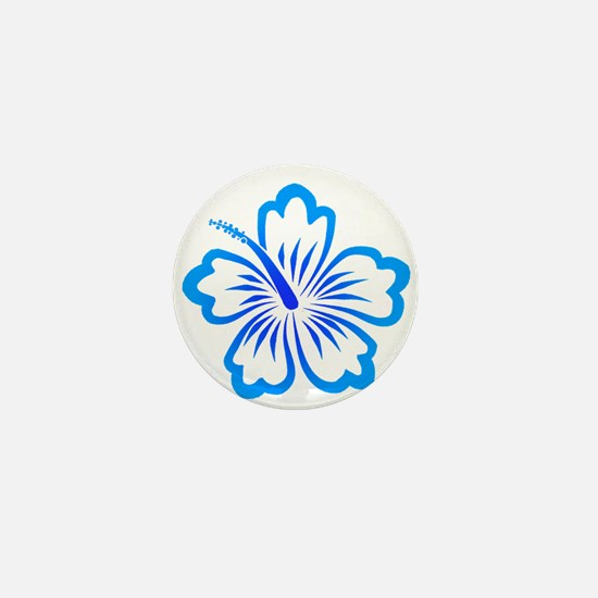 Blue Hibiscus Mini Button
