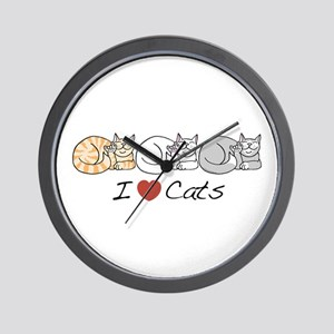 I Heart Cats Wall Clock