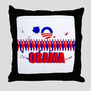 Paint Splatter Obama Throw Pillow