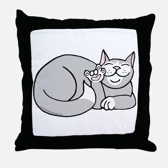 Tuxedo ASL Kitty Throw Pillow