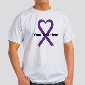 Personalized Purple Ribbon Heart White T-Shirt