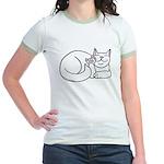 White ASL Kitty Jr. Ringer T-Shirt