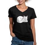 White ASL Kitty Women's V-Neck Dark T-Shirt
