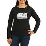 White ASL Kitty Women's Long Sleeve Dark T-Shirt