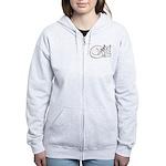 White ASL Kitty Women's Zip Hoodie