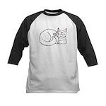 White ASL Kitty Kids Baseball Jersey