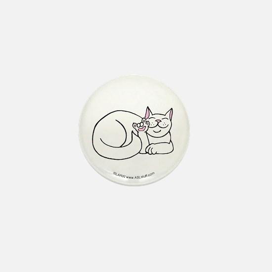 White ASL Kitty Mini Button
