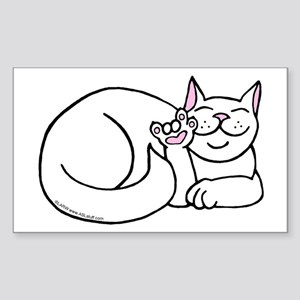White ASL Kitty Rectangle Sticker