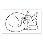 White ASL Kitty Rectangle Sticker 10 pk)