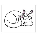 White ASL Kitty Small Poster