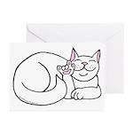 White ASL Kitty Greeting Cards (Pk of 10)