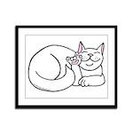 White ASL Kitty Framed Panel Print