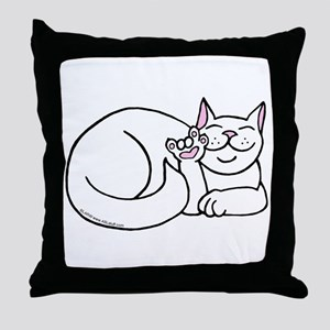 White ASL Kitty Throw Pillow