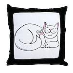 White ASL Kitty Throw Pillow