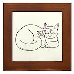 White ASL Kitty Framed Tile