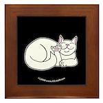 White ASL Kitty Black Framed Tile