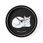 White ASL Kitty Black Wall Clock