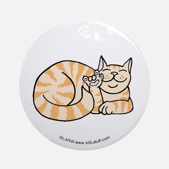 OrangeTabby ASL Kitty Ornament (Round)